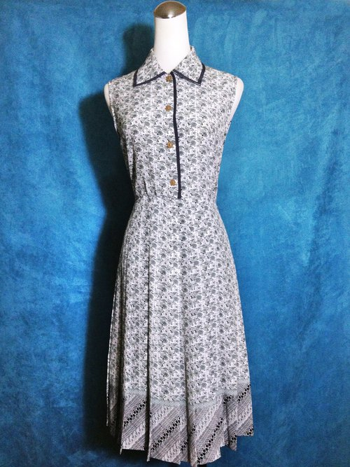 Ping pong ancient [ancient dress / buckle flowers rolling sleeveless dress] foreign bring back VINTAGE