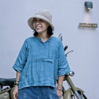 Do It Yourself | Sky Blue Handmade Blue Strings Linen Shirts Plain Loose Vest Mid Sleeve Spring/Summer Shirt Short-Sleeve T-Shirt | Nanshan Trees Dye NAMSAN INDIGO