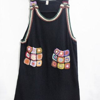 Limited hand-woven knit dress pocket Houmian / national wind dress / Flowers dress / ethnic dress / umbrella dress / Dress - Ethnic style of colorful forest in the world (fashion black)