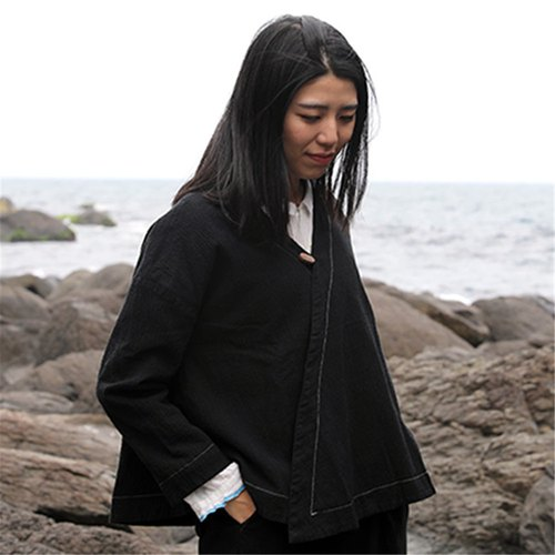 [Cloth Cloth] Black Cotton Crossbody Jacket