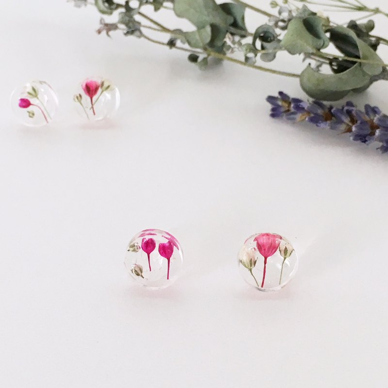 Stud earrings for pierced ears contained babys breath (10mm)