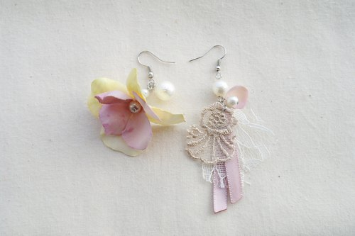Handmade Elegant Yellow Purple Fabric Flower Earrings Hook, Gift for Her