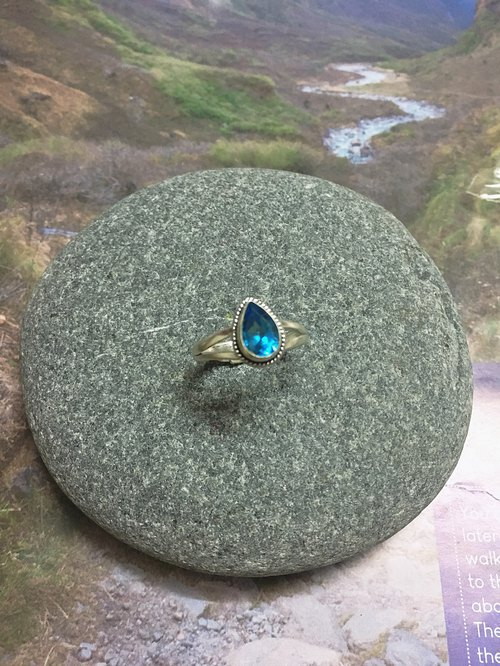 """Water droplets"" Topaz ring 915 sterling silver handmade live ring Christmas gift"