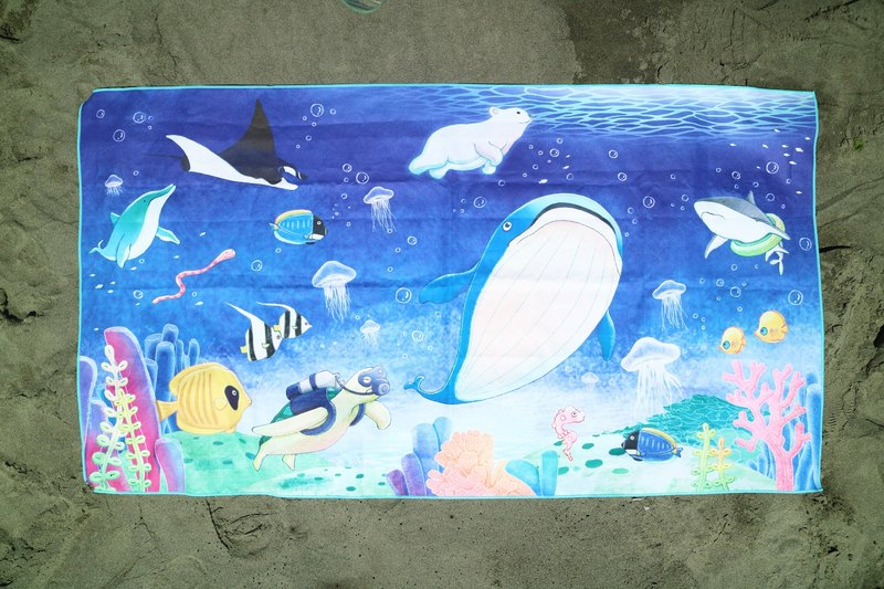 Underwater World / hand-painted original / Quick-drying water-absorbent towel / outdoor / 130 * 70cm