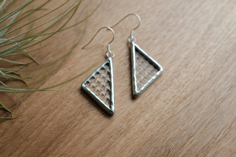 Transparent | small square glass triangle earrings