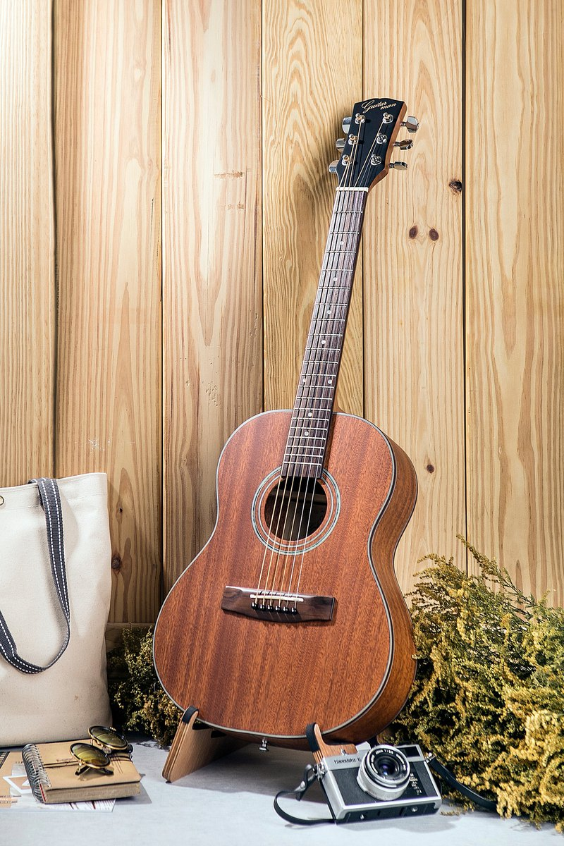 Taiwan original guitarman B-31B 34吋 full peach flower wood single hand travel guitar