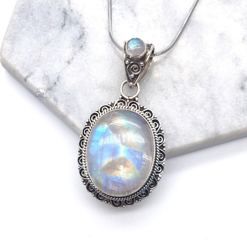 9afd8a8b9 Moonlight stone 925 sterling silver double gem design lace necklace Nepal  handmade mosaic production (style 1)
