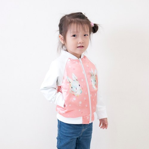 Snowflake rabbit double-sided cotton baseball jacket_Macarron pink _ child models