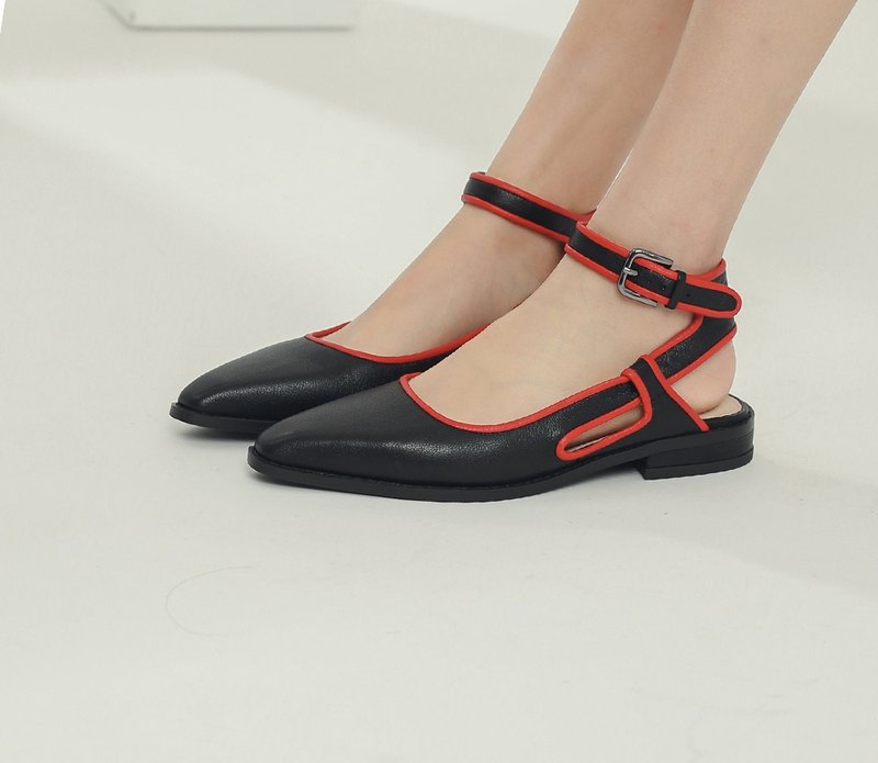 Jumping color frame around the ankle leather flat shoes black and red