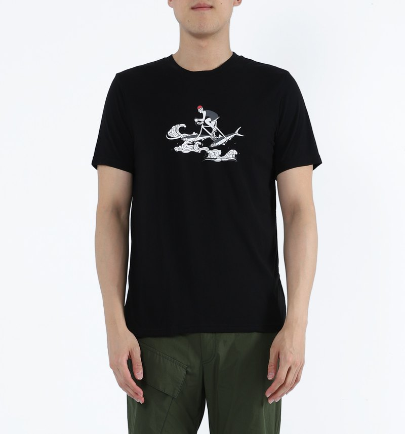Such as fish water - milkfish knight collagen print deodorant Tee (black)