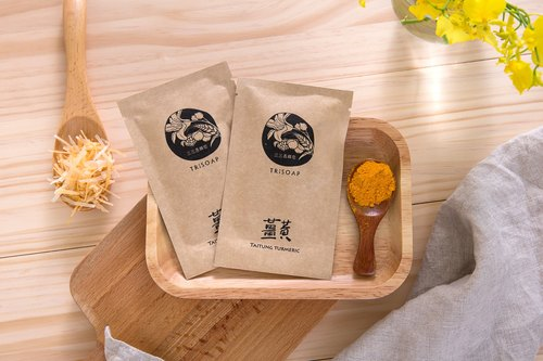 Warm turmeric brine with soap silk [three three my country TriSoap] Taitung Leshan ginger yellow natural cold handmade soap