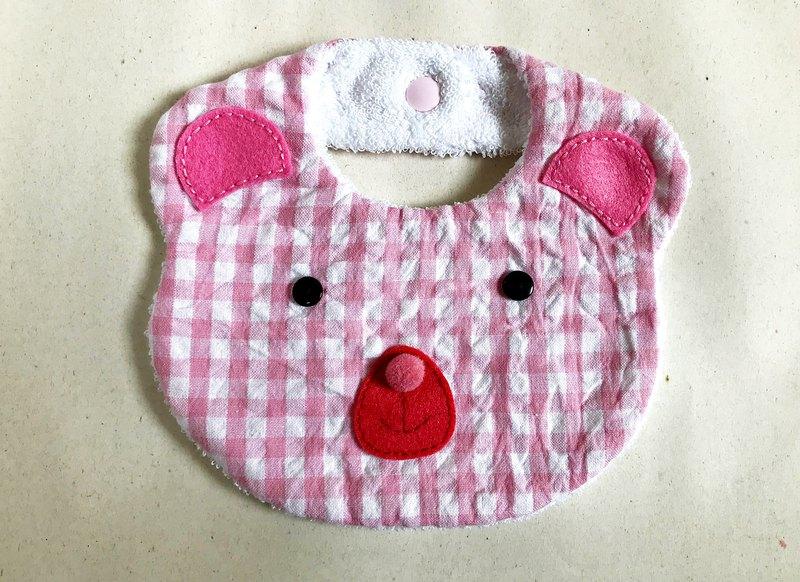 圍兜兜-粉紅格紋小熊