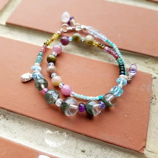 Girl Crystal World [Princess's Doll Shoes] Green Ghost - Tourmaline Double Chain Bracelet Natural Crystal Handmade