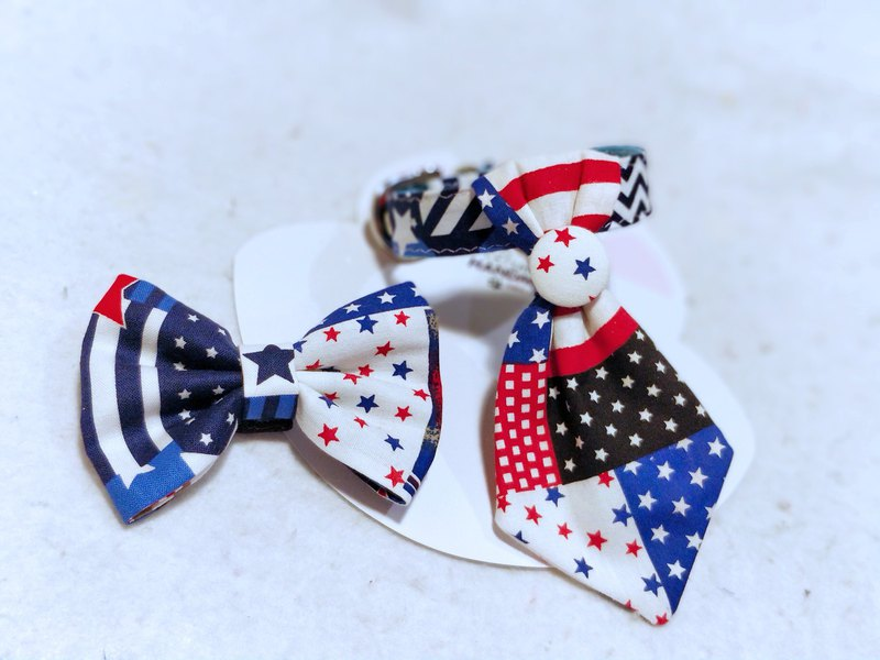 Flag star 煲呔 tie dual-use replaceable pet cat dog scarf / neck ornaments
