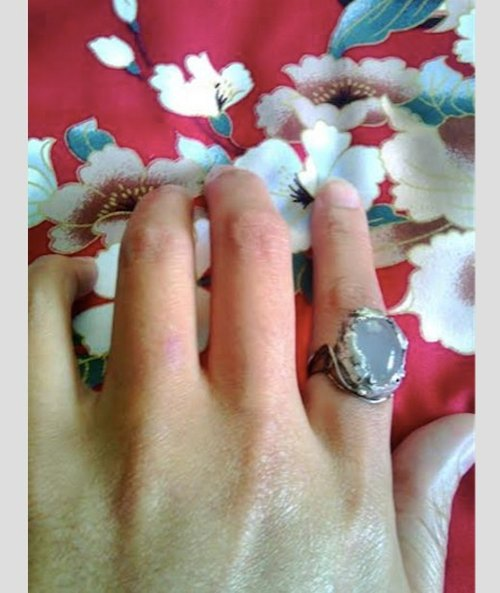White chalcedony silver ring