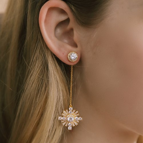 Cross Star Earrings (Gold)
