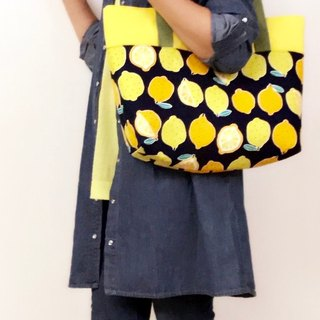 Tote - Japanese cotton printing - a lot of lemon