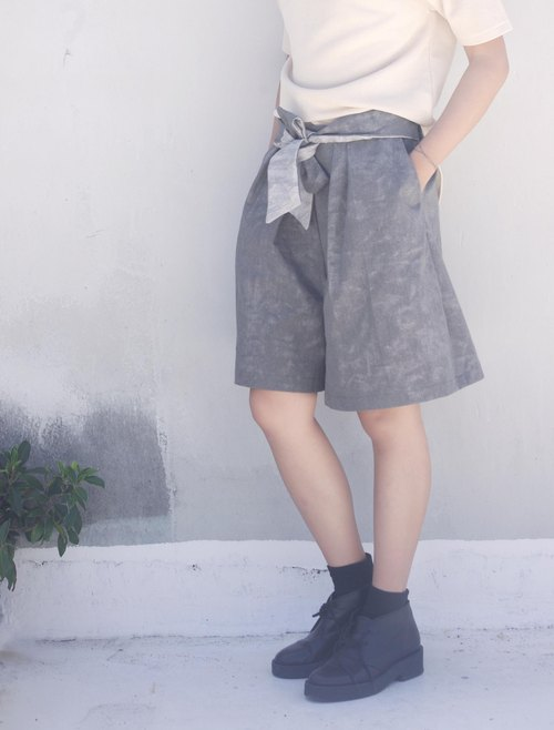 4.5studio- independent hand-made by FU- personality stonewashed gray butterfly festival discounts fifth wide pants