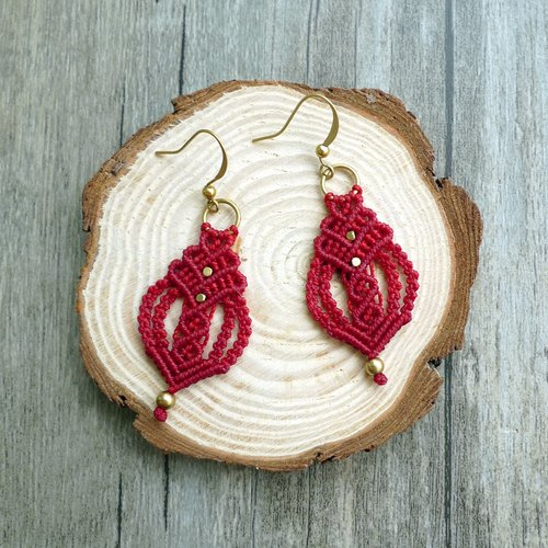 Misssheep-A24-red twisted ethnic style South American wax line braided brass bead earrings (ear hook / ear clip)