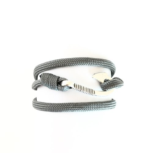 Silver anchor buckle - gray roping Bracelet