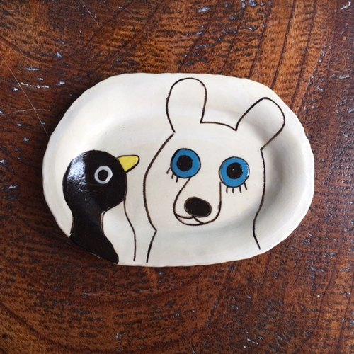 Oval dish (small) polar bear and penguin