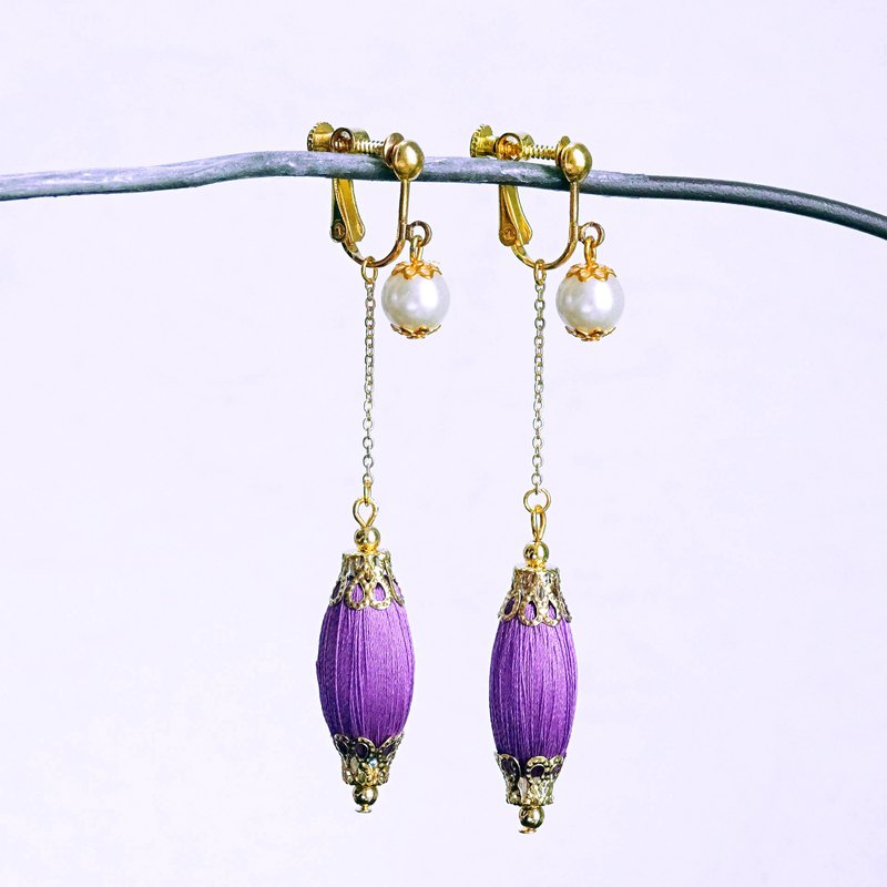 Japanese roll jade small oval solid color Purple drop earrings ear clip