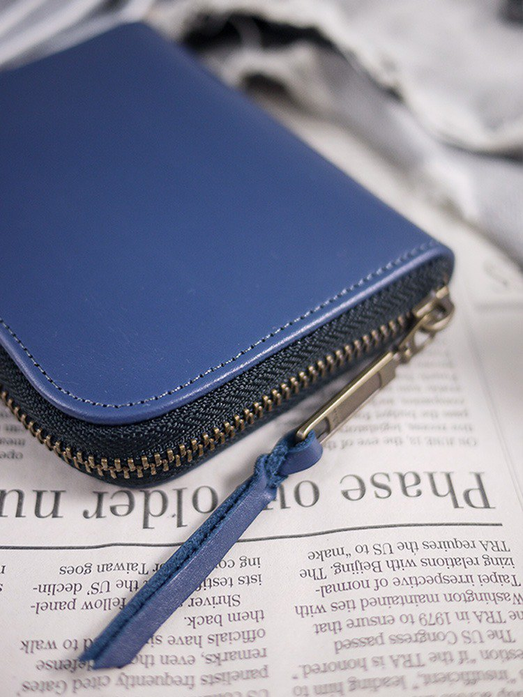 Christmas / fog blue. Classic leather long clip / wallet / wallet / coin purse