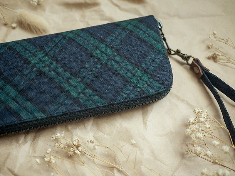 King 00's exclusive order - classic green Scottish plaid. Cloth clip / wallet / wallet / coin purse
