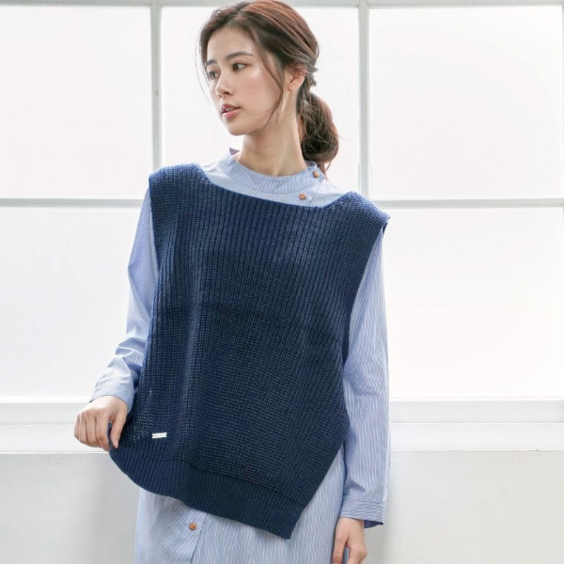 Perfect tacit knit vest - blue fog