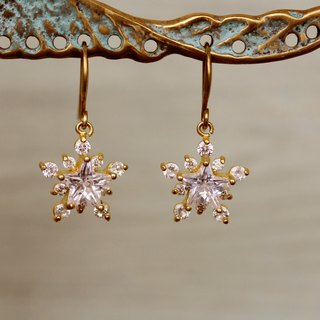 Brass Snowflake Gemstone Earrings