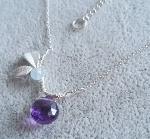 Amethyst and Aquamarine 925 silver necklace