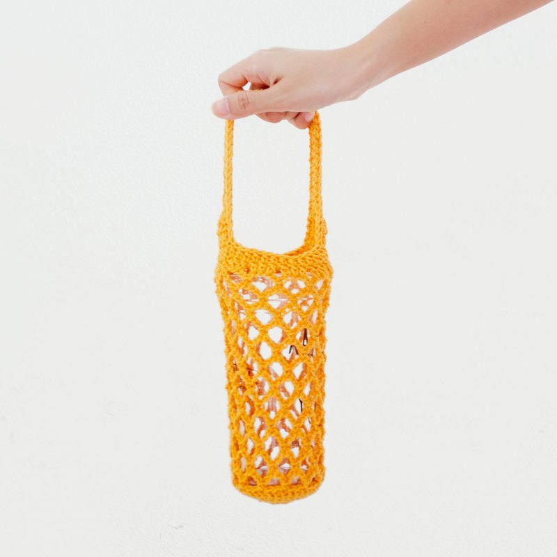 Eco-Friendly Crochet Beverage Sleeve with Handle | Yellow
