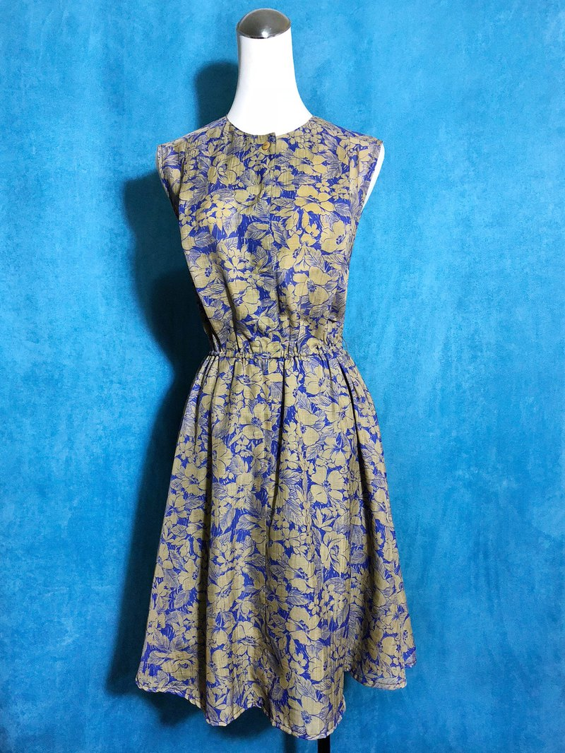 Hand-painted Flowers Sleeveless Vintage Dress / Bring back VINTAGE abroad