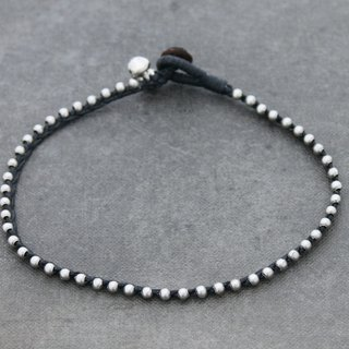 Silver Beaded Woven Anklets Black Simple