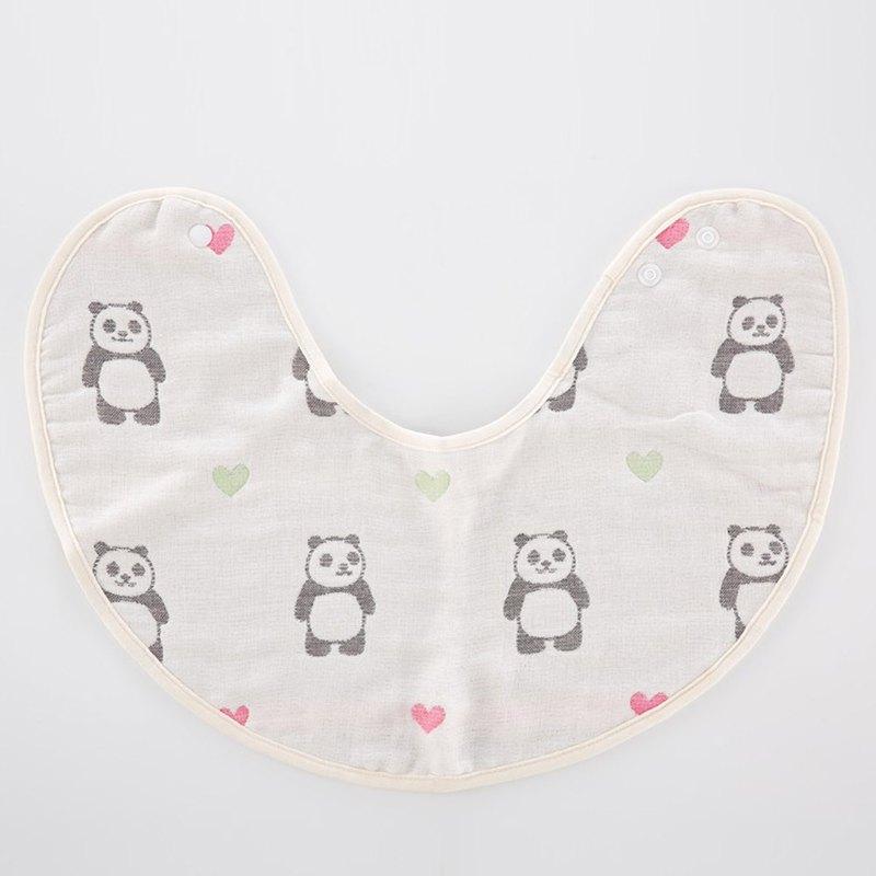 【日本製三河木綿】六重紗毛巾拍嗝巾圍兜-轉轉頭愛心熊貓