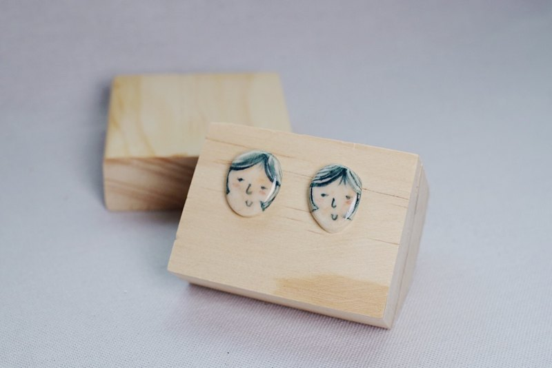 Something Like Handmade Ceramic Cute Face Silver Ear Pins—Vol .3