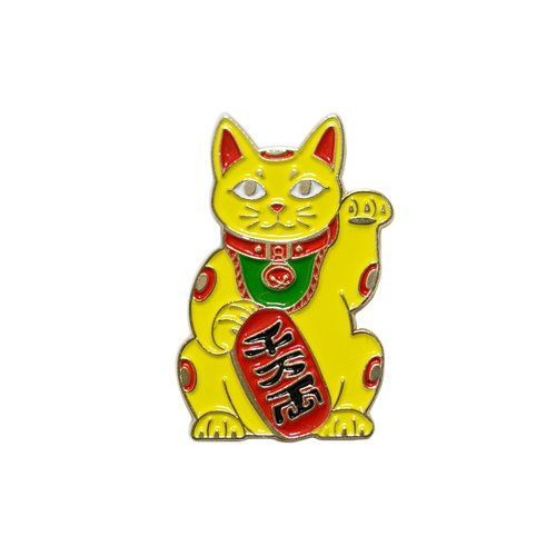 Maneki Cat Yellow Pin