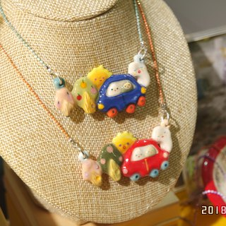 Ceramic Car with Trees Necklace