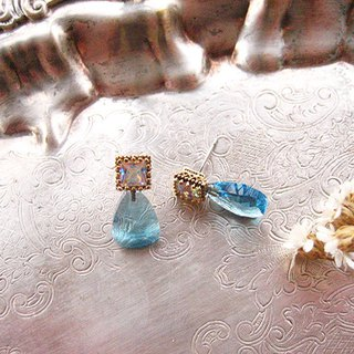 Jolie baby colorful square zircon lake water blue quartz earrings