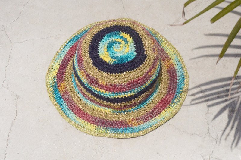 Limited edition handmade knitted cotton hats / knitted hat / fisherman hat / sun hat / straw hat - starry watercolor fruit fruit smoothie stripe handmade hat