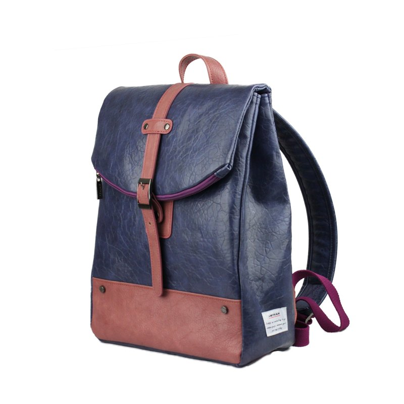 AMINAH-Purple quaint leather backpack [am-0304]