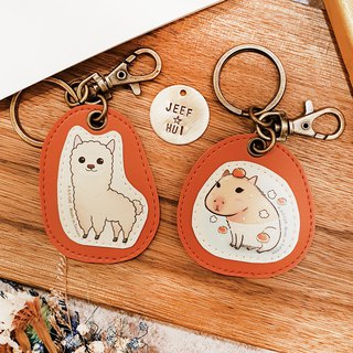Skillful cat x city cat illustration leather - custom knocking key ring (hanging) forest animal ocean