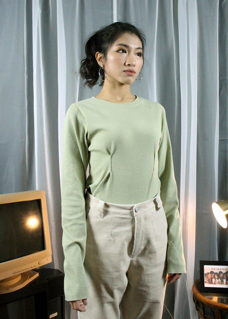 小打褶上衣  - 綠色