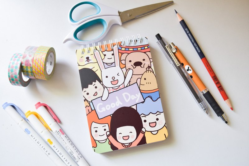 Is a pig sister notebook / Good Day good day double loop coil notebook / blank PDA