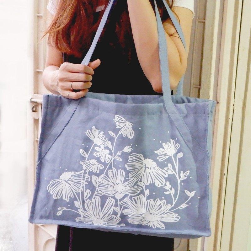 彡LOVELY DAISYFLOWERS彡雛菊藍色亞麻布袋(大地色調)