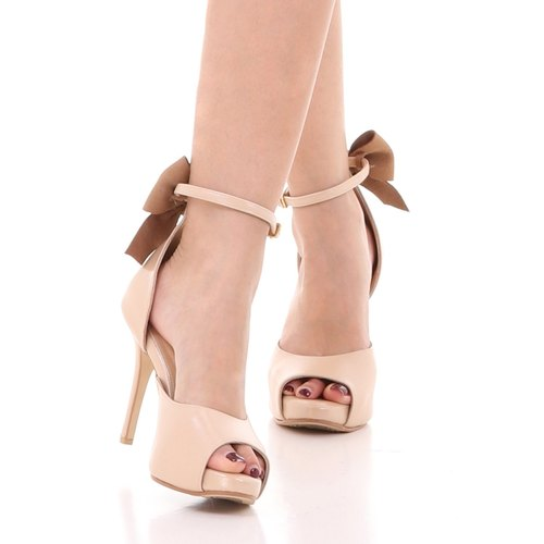 REBECCA; Joyful Party Pumps, 100% Genuine Leather Beige Open toe Heel