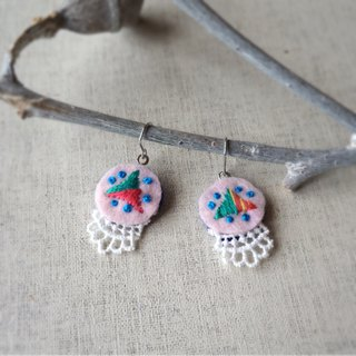 "Hand embroidery pierced earring""triangle""[order-receiving production]"