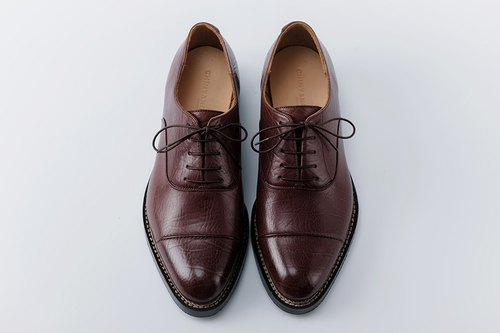 CYC Handmade Custom Shoes - 3CM OXFORD Oxford Gentleman Shoe Coffee Shredded Frozen Cattle MTO Order Single Line + Full Lock Chain