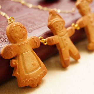 Christmas Gingerbread - Handmade Polymer Clay Gold-plated Brass Necklace