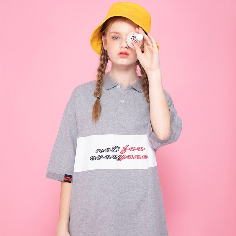 UNISEX OVERSIZED POLO SHIRT / Heather Grey